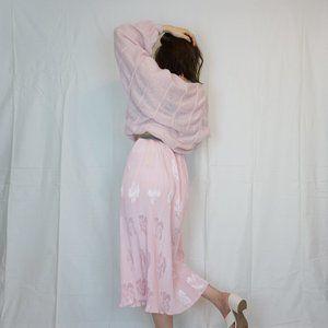 Vintage Pink Silky Pleated Floral Skirt